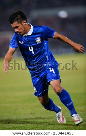 NAKHON RATCHASIMA THA-Feb07:Peerapat Notchaiya(B)of Thailand in action during the 43rd King's cup match between Thailand and Korea Rep at Nakhon Ratchasima stadium on February07,2015 in Thailand. - stock photo