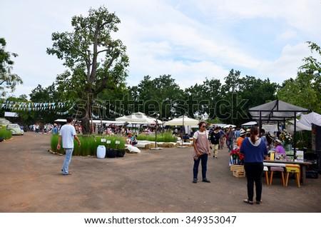 NAKHON RATCHASIMA, THAILAND - NOVEMBER 28 : Thai people travel and shopping at market fair on November 28, 2015 in Nakhon Ratchasima, Thailand. - stock photo