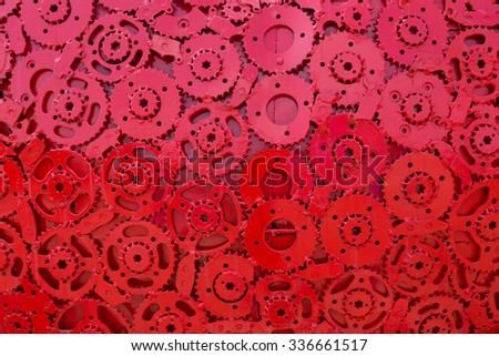 Nakhon Ratchasima, thailand - October 25, 2015: Handicraft metal artwork from used spare parts. metal Gears, car, auto, motocycle etc. - stock photo