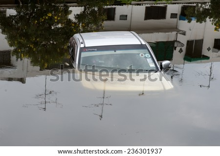 Nakhonratchasima Thailand, 4 December: A car accident drowned. Pak Thong Chai on December 4, 2014 in Nakhonratchasima Thailand. - stock photo
