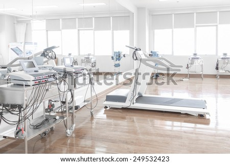 NAKHONRATCHASIMA, THAILAND - November 15, 2014: Special medical equipment for physical therapist training in physiotherapy room at hospital, November 15, 2014 in Nakhonratchasima, Thailand. - stock photo