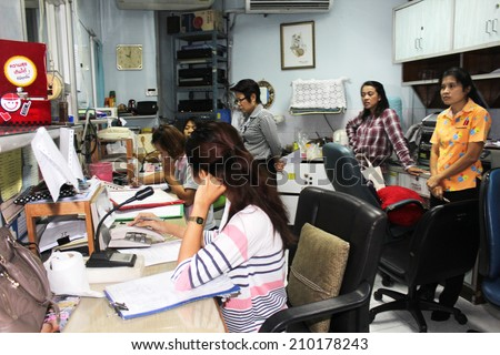 NAKHONSAWAN/THAILAND-JULY 31: Exercise Management for group accident on July 31, 2014 in Nakhonsawan. Operators at the Regional Hospital announce Doctors and Medical Personnel to the Emergency room. - stock photo