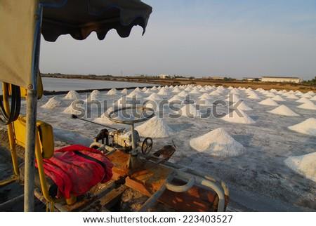 Naklua Mass of salt in salt seaside farm, Petchaburi Province Thailand Asia - stock photo