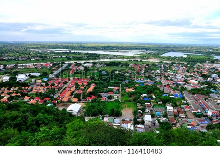 Nakorn of Thailand with bird's eye view - stock photo