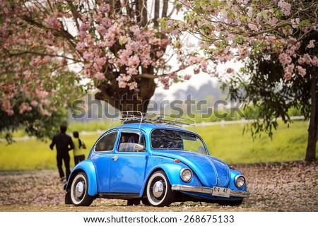 NAKORNPATOM, THAILAND -April 13, 2015: Retro styled image of vintage Volkswagen Beetles parked under the tree in Nakornpatom, Thailand - stock photo