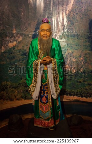NAKORNPRATHOM,THAILAND-AUGUST 25:Confucius (Gong jur) is the most influential about knowledge and thinking in china was show at Thai Human Imagery Museum on August 25,2014 in Nakornprathom,Thailand  - stock photo