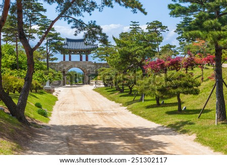 Naksansa (Korean Buddhist Temple complex) that stands on the slopes of Naksan Mount - stock photo