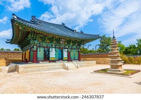 Naksansa (Korean Buddhist Temple complex) that stands on the slopes of Naksan Mountain in  Sokcho, South Korea. - stock photo