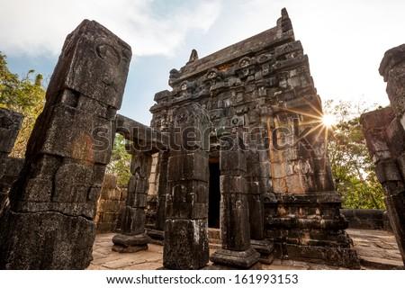 Nalanda Gedige,  ancient complete stone building near Matale, Sri Lanka - stock photo