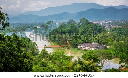 Nam Song river in Vang Vieng, Laos. Viwe from Chang cave - stock photo