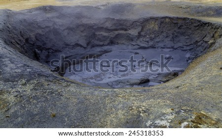 Namafjall, a spectacular geothermal area in north Iceland - stock photo
