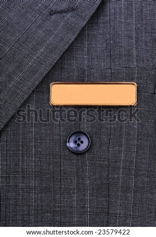 name tag on the business suit - stock photo