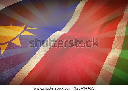 Namibia flag against linear design - stock photo