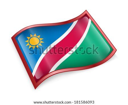 Namibia flag icon, isolated on white background - stock photo