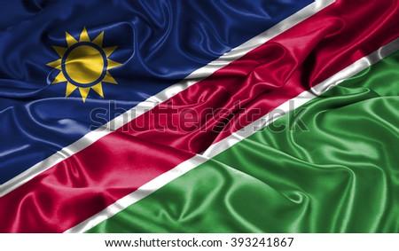 Namibia silk flag - stock photo