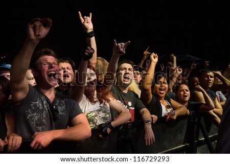 NAMPA, IDAHO - SEPTEMBER 25 : The crowd at a Shinedown live Concert at the Rockstar Uproar Festival on September 25, 2012 in Nampa, Idaho. - stock photo