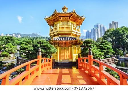 Nan Lian Garden. It is a Chinese Classical Garden in Diamond Hill, Kowloon, Hong Kong. - stock photo