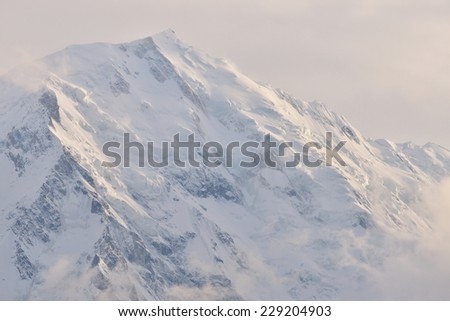 Nanga Parbat is the 9th highest mountain in the world. Located in Pakistan, before sunset. - stock photo