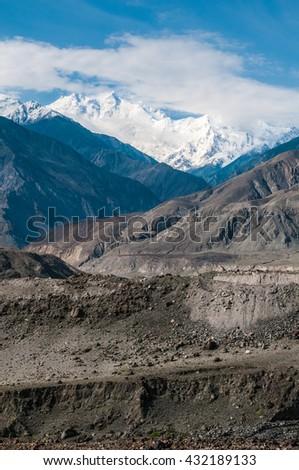 Nanga Parbat seen from Karakorum Highway - stock photo