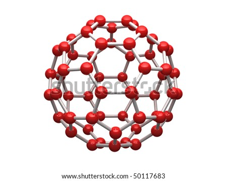 Nano sphere from carbon atoms isolated on white background. - stock photo