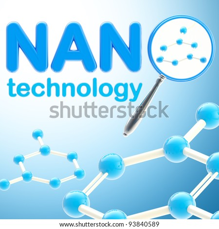 Nano technology blue glossy background made of magnifier and molecule - stock photo