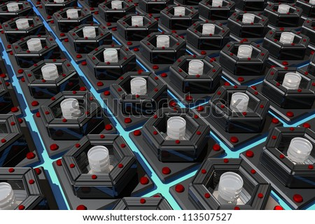 Nano - the symmetry and coal Nanotechnology - the future and hope - stock photo