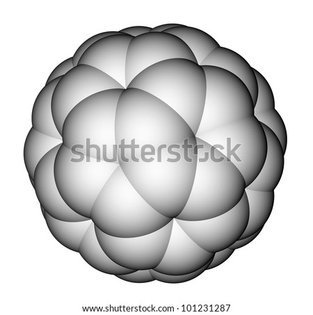 Nanoparticle fullerene C60 space-filling model. - stock photo