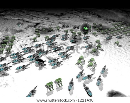 nanotech warfare armies of microscopic robots - stock photo