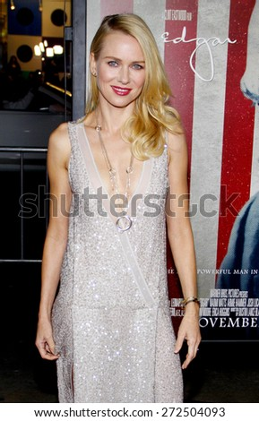 Naomi Watts at the AFI FEST 2011 Opening Night Gala World Premiere Of 'J. Edgar' held at the Grauman's Chinese Theatre in Hollywood on November 3, 2011.  - stock photo