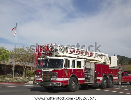 NAPA VALLEY, CA - APRIL 16: Napa County fire truck in Yountville on April 16, 2014. There are 1,781 fire departments and fire stations in California - stock photo