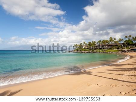 napili bay beach maui in bright sunny afternoon - stock photo