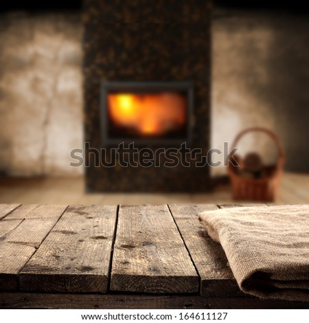 napkin and fireplace  - stock photo