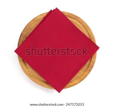 napkin at cutting board on white background - stock photo