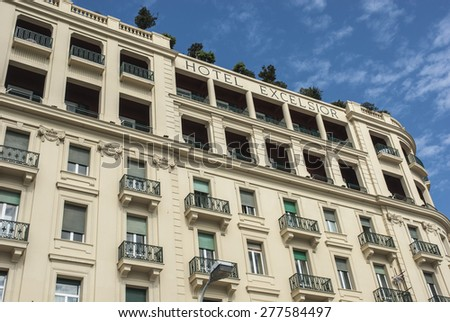 NAPLES, ITALY - APRIL 15, 2007: Exterior of the Hotel Excelsior - stock photo