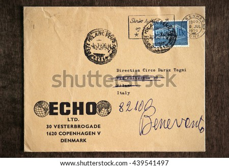 NAPLES, ITALY - JUNE 12, 2016: Old danish envelope, which was dispatched from Copenhagen, Denmark, to Benevento, Italy, on July 6, 1970. - stock photo