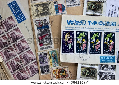 NAPLES, ITALY - JUNE 12, 2016: Old envelopes dispatched to Italy in the 60s. The stamps are Spanish, Czechs, Bulgarians and Italians. - stock photo