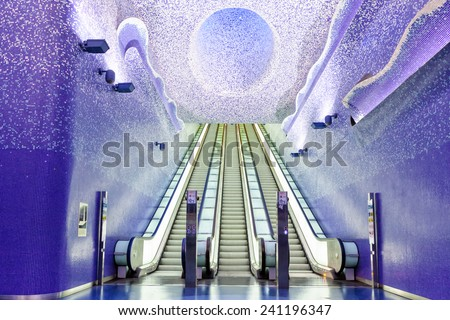 NAPLES, ITALY - NOVEMBER 29, 2014: Toledo metro station interior. - stock photo