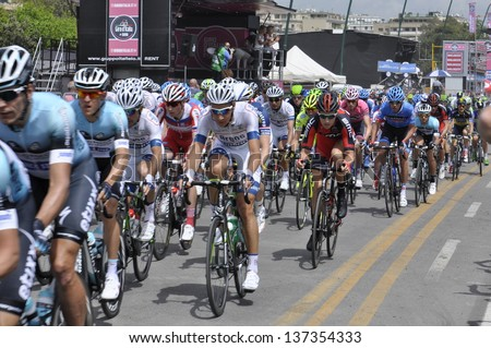 NAPLES - MAY 04: Professional Bikers racing the first day of the Giro d'Italia on May 04, 2013 in Naples - stock photo