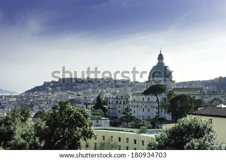 Naples scenic view at sundown with its churches domes, Italy - stock photo