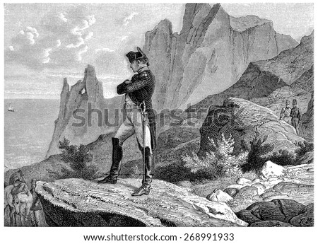 Napoleon at St. Helena, vintage engraved illustration. History of France 1885. - stock photo