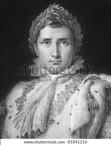 Napoleon Bonaparte (1769-1821). Engraved by W.Holl  and published in The Gallery Of Portraits With Memoirs encyclopedia, United Kingdom, 1834. - stock photo
