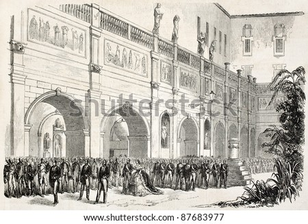 Napoleon III and Empress Eugenie reviewing Saint-Helene medals in Lyon. Created by Lhernault after Steyert, published on L'Illustration, Journal Universel, Paris, 1860 - stock photo