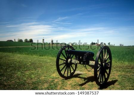 Napoleon, 12 lb cannon, near Peach Orchard, Gettysburg National Historical Battlefield,Pennsylvania,  - stock photo