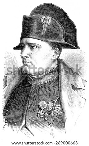 Napoleon, vintage engraved illustration. History of France 1885. - stock photo