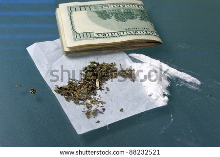 narcotics and drugs used for addictions - stock photo