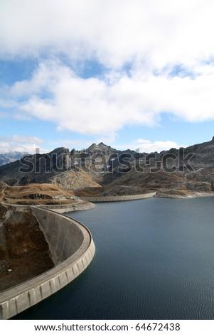 Naret Dam on the Swiss Alps - stock photo