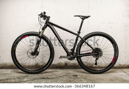 NARON, SPAIN - JANUARY 18: , Mountain bike Grand Canyon AL SL 6.9, on January, 18, 2016 in Naron, Galicia,Spain. Canyon is a German brand, which manufactures different types of bicycles. - stock photo