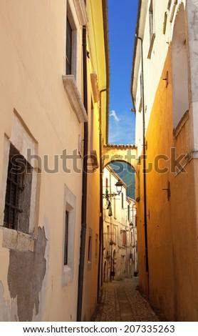 Narrow alley in Tocco da Casauria, Abruzzo region, Italy - stock photo