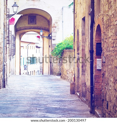 Narrow Alley with Old Buildings in Italian City, Instagram Effect  - stock photo