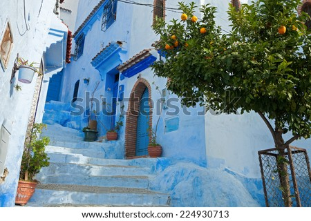 Narrow alleyway in the medina, Chefchaouen, Morocco - stock photo